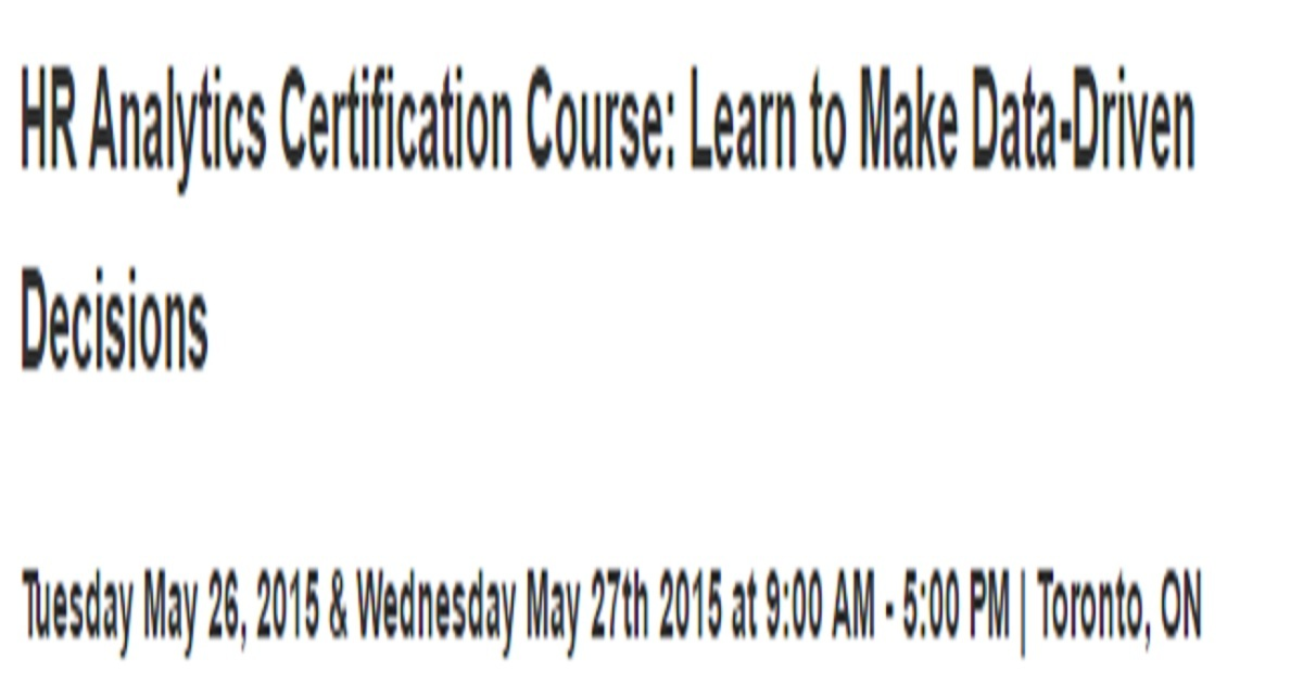 Hr Analytics Certification Course Learn To Make Data Driven